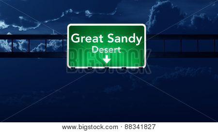 Great Sandy Desert Australia Desert Highway Road Sign At Night