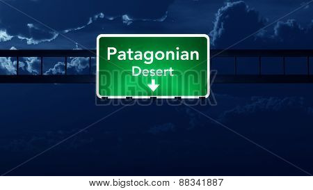 Patagonian Desert South America Highway Road Sign At Night