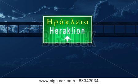 Heraklion Greece Highway Road Sign At Night