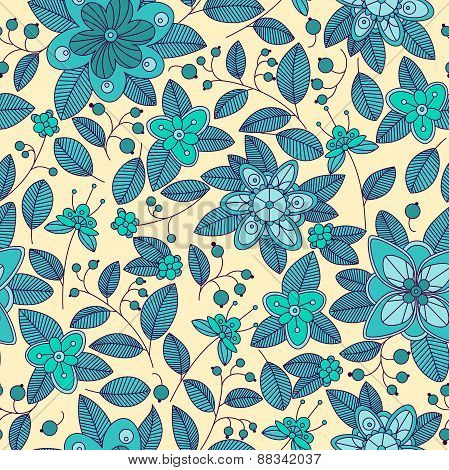 Blue seamless pattern of shrub with flowers and berries
