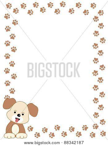 Dog Paw Prints Frame With Dog
