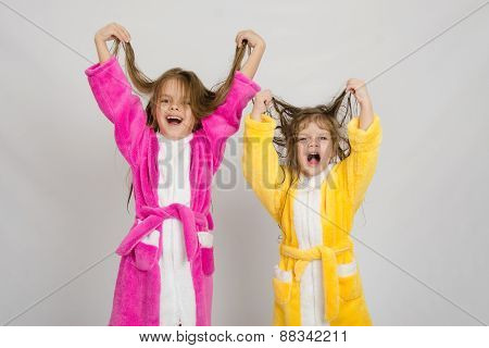 Two Girls In The Bath Robes Grimace Hair