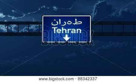 Tehran Iran Highway Road Sign At Night