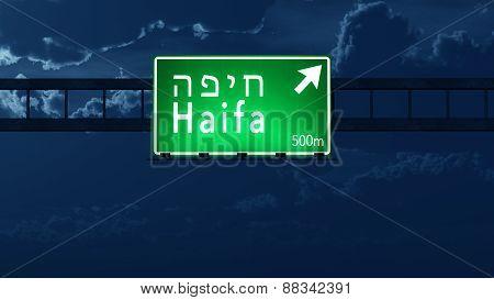 Haifa Israel Highway Road Sign At Night