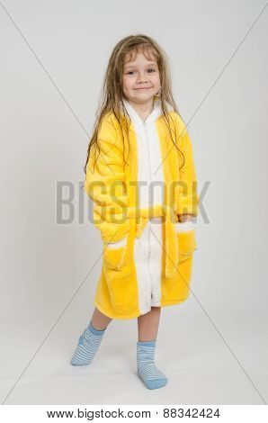 Portrait In Full Growth Girl Bathrobe