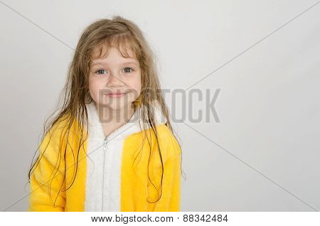 Portrait Of A Four-year Girl In Bathrobe