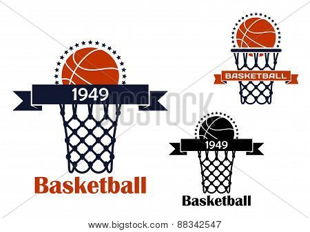 Basketball sport game emblem or symbol