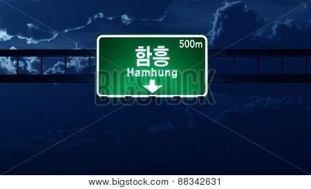 Hamhung North Korea Highway Road Sign At Night