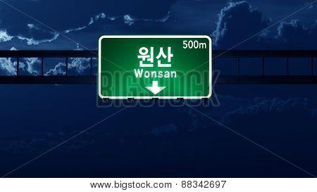 Wonsan North Korea Highway Road Sign At Night