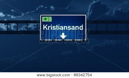 Kristiansand Norway Highway Road Sign At Night