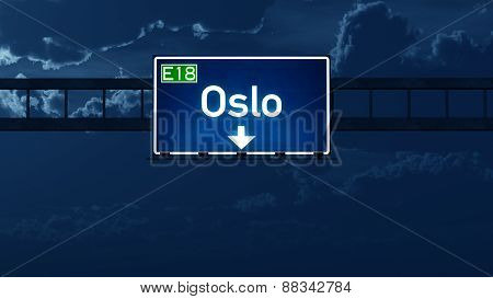 Oslo Norway Highway Road Sign At Night