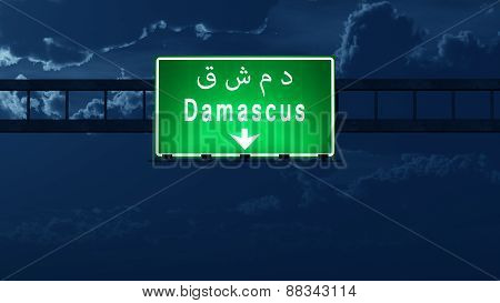 Damascus Syria Highway Road Sign At Night