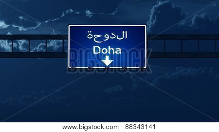 Doha Quatar Highway Road Sign At Night