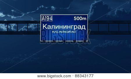 Kaliningrad Russia Highway Road Sign At Night