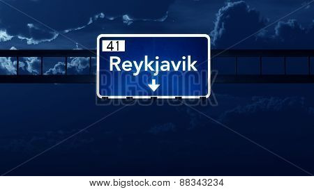 Reykjavik Iceland Highway Road Sign At Night