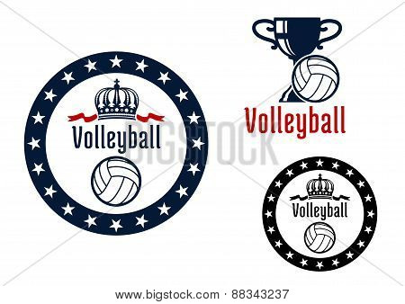 Volleyball sport game heraldic emblems
