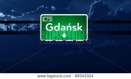 Gdansk Poland Highway Road Sign At Night
