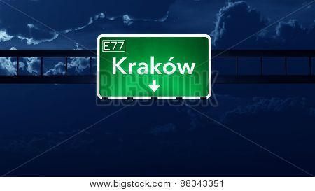 Krakow Poland Highway Road Sign At Night
