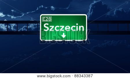 Szczecin Poland Highway Road Sign At Night