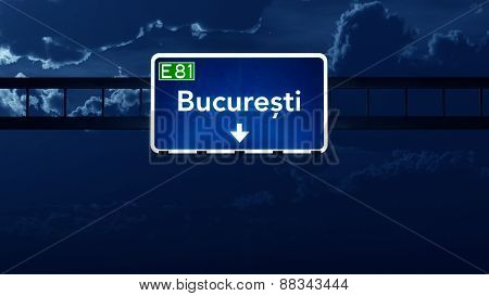Bucharest Romania Highway Road Sign At Night
