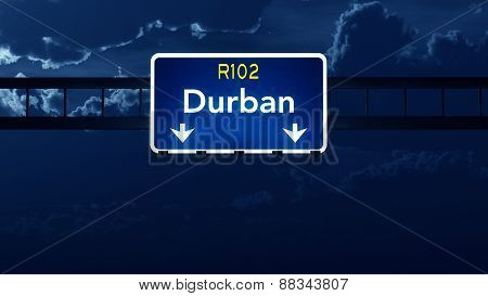 Durban South Africa Highway Road Sign At Night