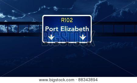 Port Elizabeth South Africa Highway Road Sign At Night