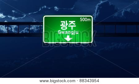 Gwangju South Korea Highway Road Sign At Night
