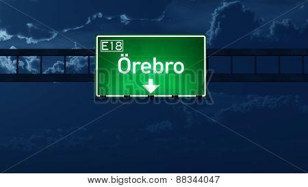 Orebro Sweden Highway Road Sign At Night