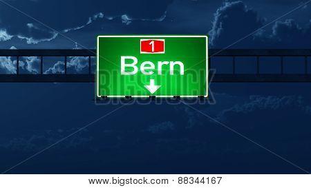 Bern Switzerland Highway Road Sign At Night