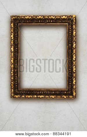 Antique Picture Frame Handmade Wood Isolated On Wall Effect Background
