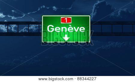 Geneve Switzerland Highway Road Sign At Night