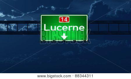 Lucerne Switzerland Highway Road Sign At Night