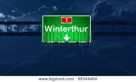 Winterthur Switzerland Highway Road Sign At Night