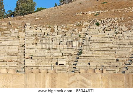 Seats In Theater Of Dionysus On Acropolis In Athens, Greece
