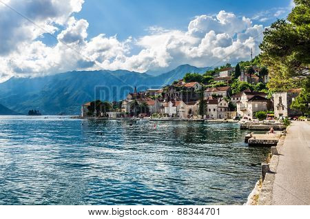 View On City And Sea Bay And Perast