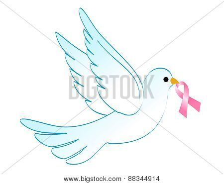 Dove With Pink Ribbon
