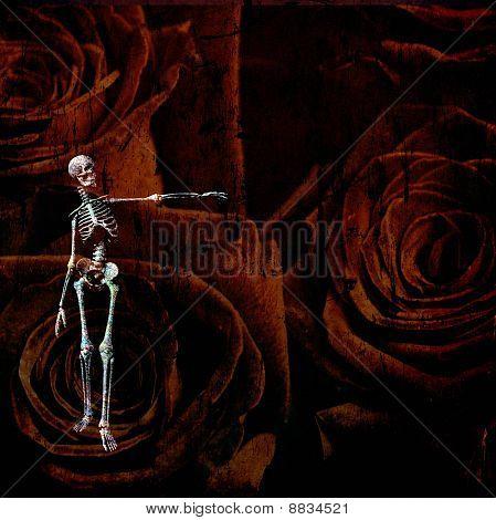 Skeletal Figure And Rose Grunge