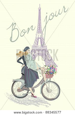 Fashion Girl On The Bike