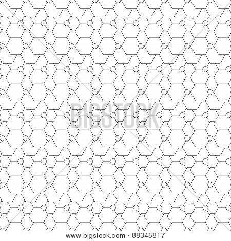 Seamless pattern with hexagons. Repeating modern stylish geometric background. Simple black monochro