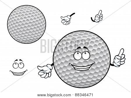 Smiling cartoon dimpled white golf ball character