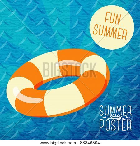 Cute summer poster - orange lifebuoy in water, with speech bubble for your text.