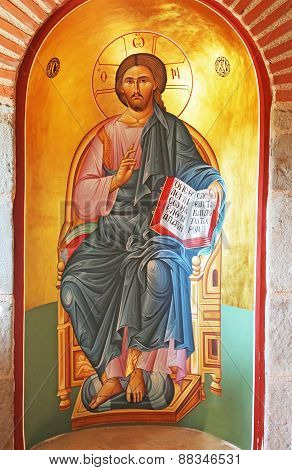 Painting Of Jesus Christ In The Holy Trinity Monastery In Meteora, Greece