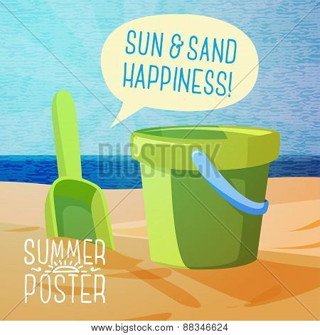 Cute summer poster - sun, sand, spade and bucket on the shore, with speech bubble for your text. Vec