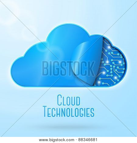 Cloud computing technology concept illustration. Clockwork or microchips undercover. With place for