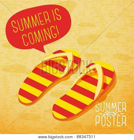 Cute summer poster - slippers on the beach, with speech bubble for your text. Vector.