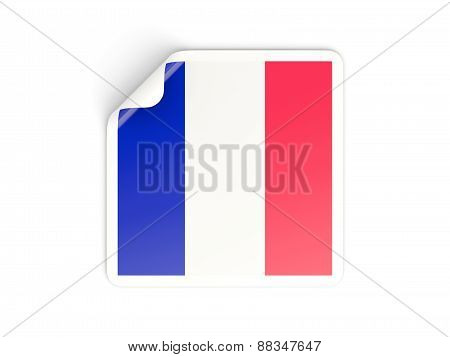 Square Sticker With Flag Of France