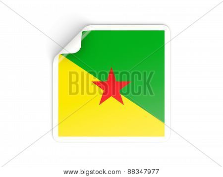 Square Sticker With Flag Of French Guiana