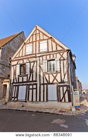Fachwerk Style Medieval House In Provins France