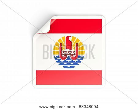 Square Sticker With Flag Of French Polynesia