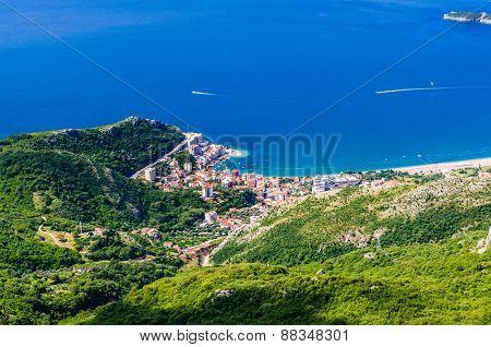 View On Mountain, Sea, Rafailovici In Montenegro